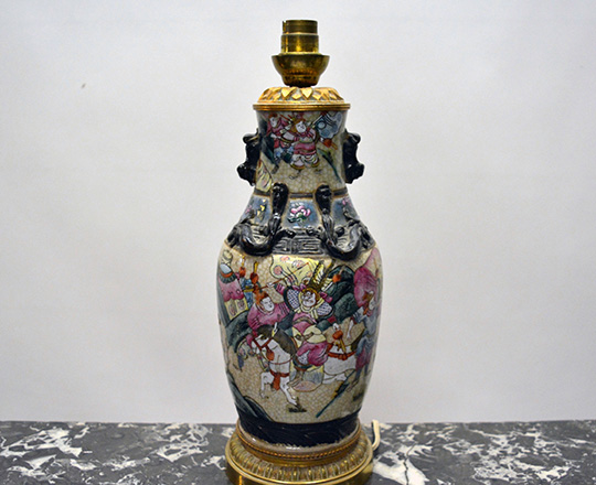 Lot 207_1: 19th cent  Family Rose Nankin ceramic vase / lamp with Chinese worriors decor on gilt bronze base  H29cm. Tot.H52cm