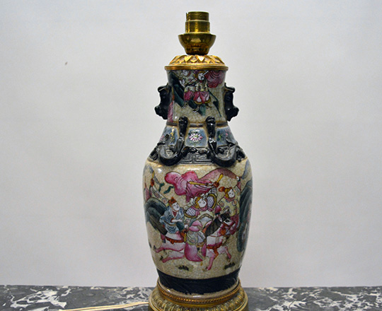 Lot 207_2: 19th cent  Family Rose Nankin ceramic vase / lamp with Chinese worriors decor on gilt bronze base  H29cm. Tot.H52cm