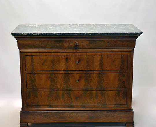 Lot 216: 19th cent blond walnut marble top Louis Ph. Commode. Top drawer tilts opens to reveal desk. H99xW124xD58cm.