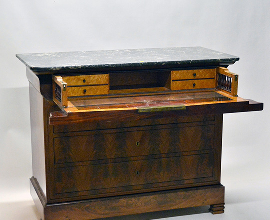Lot 216_1: 19th cent blond walnut marble top Louis Ph. Commode. Top drawer tilts opens to reveal desk. H99xW124xD58cm.
