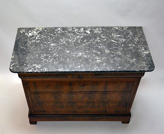 Lot 216_2: 19th cent blond walnut marble top Louis Ph. Commode. Top drawer tilts opens to reveal desk. H99xW124xD58cm.