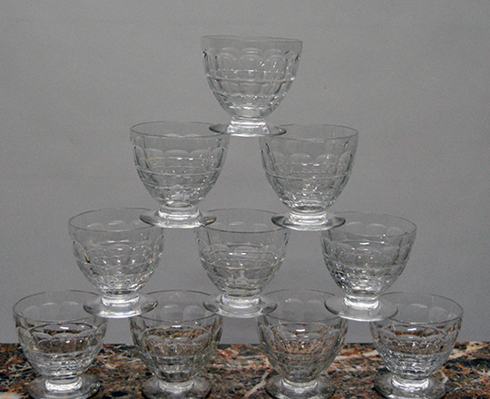 Lot 222_2: Three sets of various size Baccarat crystal glasses with original boxes.