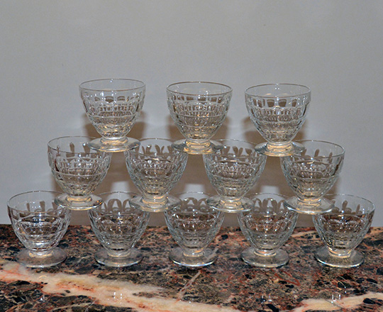 Lot 222_3: Three sets of various size Baccarat crystal glasses with original boxes.