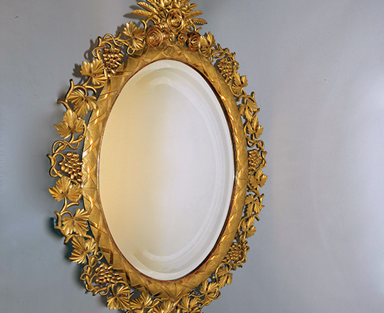Lot 226: Stunning, large 19th cent gold leaf mirror ornated with rasin and leaves. H138 x W96cm.