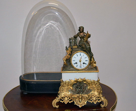 Lot 266_2: 19th c gilt bronze and spelter mantle clock with statue of lady with harp. H38 x W26cm.