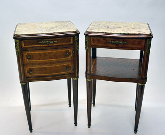 Lot 273: Pair of Louis XVl style three drawer and single drawer marble top side tables. H84xW47xD40cm.