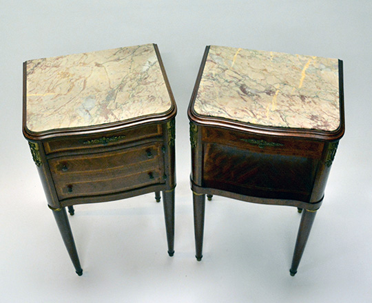 Lot 273_1: Pair of Louis XVl style three drawer and single drawer marble top side tables. H84xW47xD40cm.