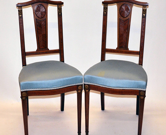 Lot 274: Pair of fine Louis XVI marquetry chairs.