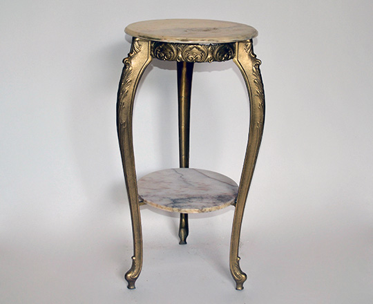 Lot 282: Gilt painted metal two tier selette table with alabaster tops. H 78 x dia,38cm.