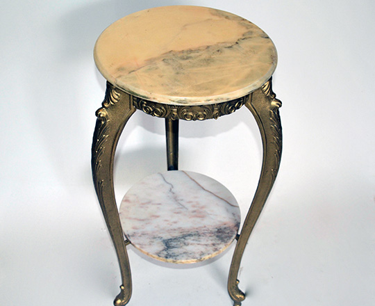 Lot 282_1: Gilt painted metal two tier selette table with alabaster tops. H 78 x dia,38cm.