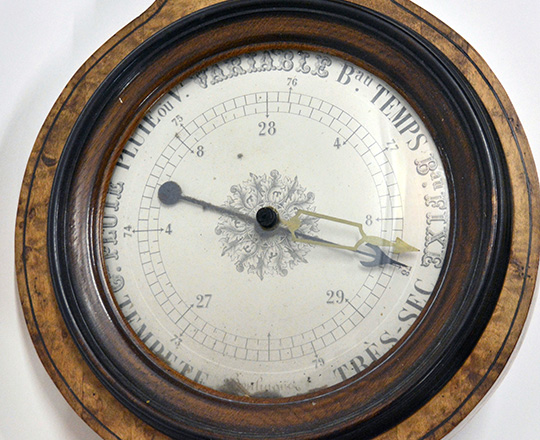Lot 284_1: 19th cent Empire barometer / thermometer. H93cm.