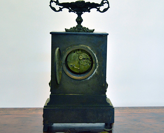 Lot 287_1: Early 19th c Restauration period black marble mantel clock with gilt bronze ornaments. H33x W22cm.
