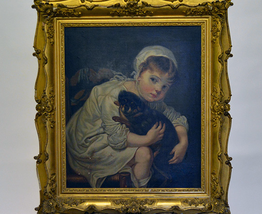 Lot 290: 19th cent Oil on canvas of girl with puppy. H87 x W77cm with frame (acc.)