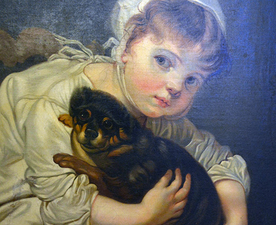 Lot 290_1: 19th cent Oil on canvas of girl with puppy. H87 x W77cm with frame (acc.)