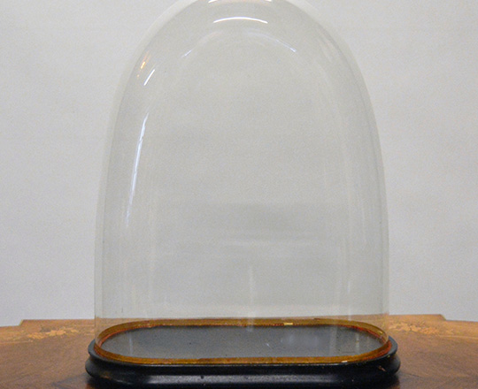 Lot 374: Large 19th cent glass dome. H52cm.cm.
