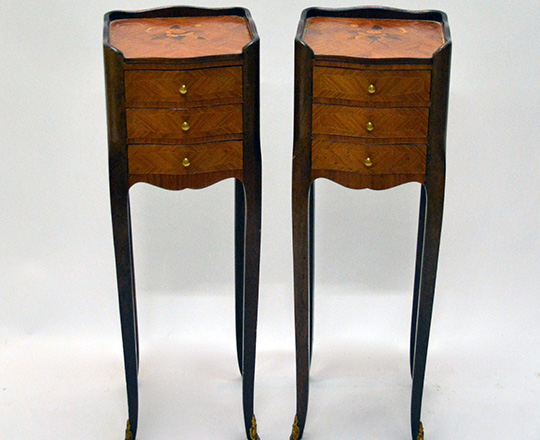 Lot 375: Pair small Louis XV style three drawer marquetry side tables