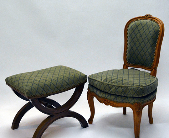 Lot 376: Louis XV style velvet covered child chair and a late Empire style stool.