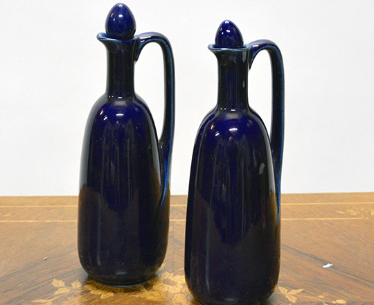 Lot 379_1: Various 19th cent cobalt blue ceramique bottles, vases, amphor, ect. Max H30cm.