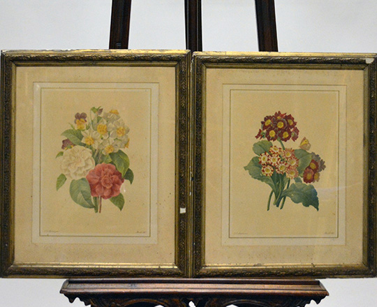 Lot 382: Three pair of framed floral  theme prints.