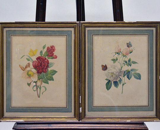 Lot 382_1: Three pair of framed floral  theme prints.