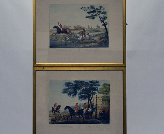 Lot 383: Pair of gilt framed hunting scenes engravings by Carl Vernet. H53xW65cm.