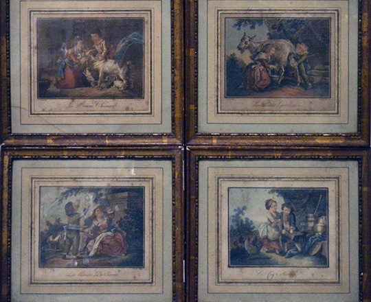 Lot 384: Set of four 19th cent gilt framrd color engravings by J.B.Huet. 27,5 x 30,5cm.