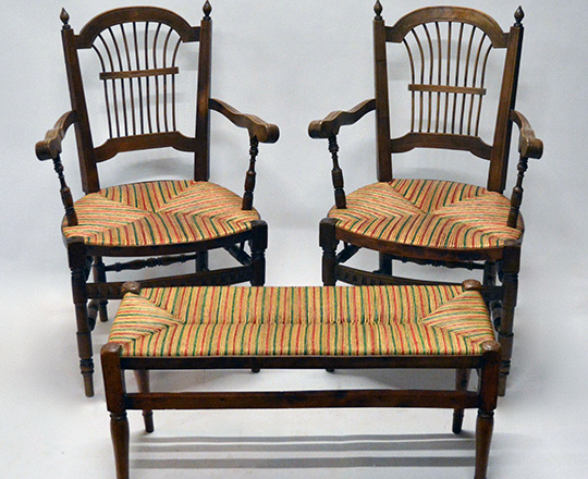 Lot 385: Pair early cent straw seat country armchairs with a similar covered bench.