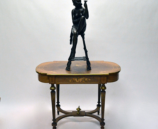 Lot 389_4: Large bronze sculpter of (1920's Oriental?) woman on a stool with a cup. H 82cm.