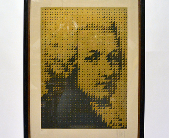Lot 390: Serigraph of Bethoven by JP Vasarely.H64,5xW46cm. Tot.H84xW64cm.