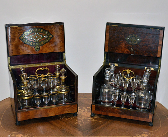 Lot 395_3: Beautiful 19th c Nap.lll liquor cabinet with fine marquetry and extactable glass service set, one glass missing.