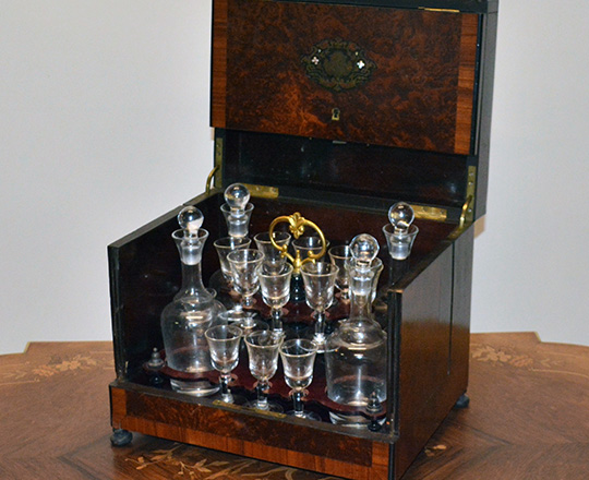 Lot 396: Beautiful 19th c Nap.lll liquor cabinet with fine marquetry and extactable glass service set, some glass repaired.
