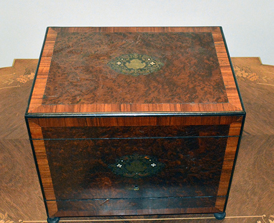 Lot 396_2: Beautiful 19th c Nap.lll liquor cabinet with fine marquetry and extactable glass service set, some glass repaired.