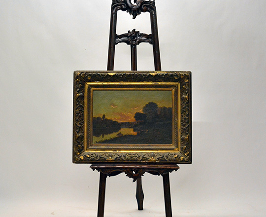 Lot 398_1: Oil on canvas with river in country landscape at dusk in a gilt gesso frame. Tot. H63 x W81cm.