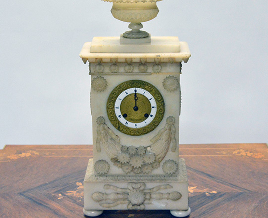 Lot 402: 19th c. finely carved late Empire alabaster mantel clock. H43cm. (+ pr marbe elec. Candelsticks).