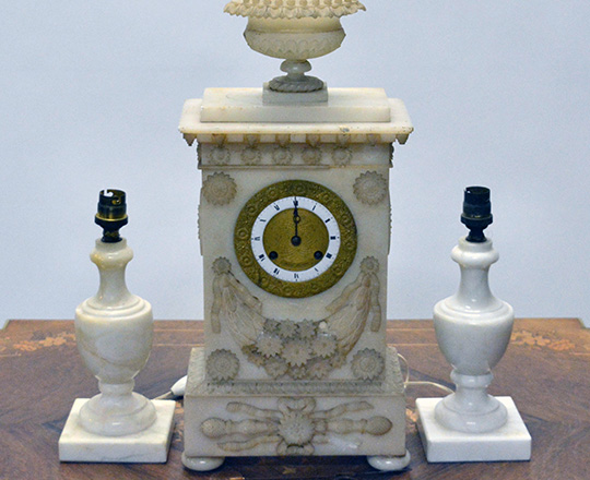 Lot 402_1: 19th c. finely carved late Empire alabaster mantel clock. H43cm. (+ pr marbe elec. Candelsticks).