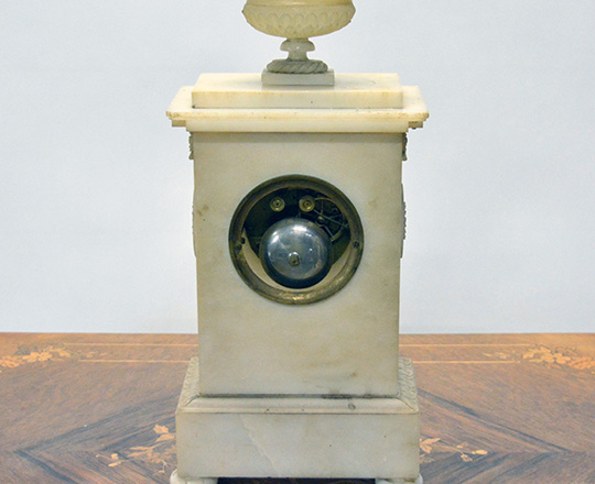 Lot 402_2: 19th c. finely carved late Empire alabaster mantel clock. H43cm. (+ pr marbe elec. Candelsticks).