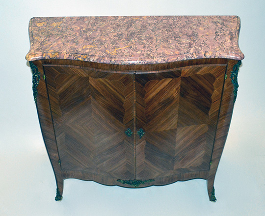 Lot 407_1: Turn cent . Louis XV two door, marble top marquetry buffet. H100xW104xD39cm.