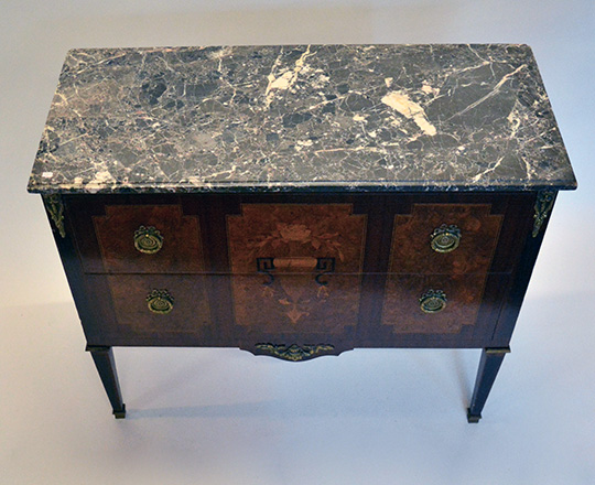 Lot 408_2: Early cent Louis XVI two drawer, marble top fine marquetry commore.H85xW97xD42cm.
