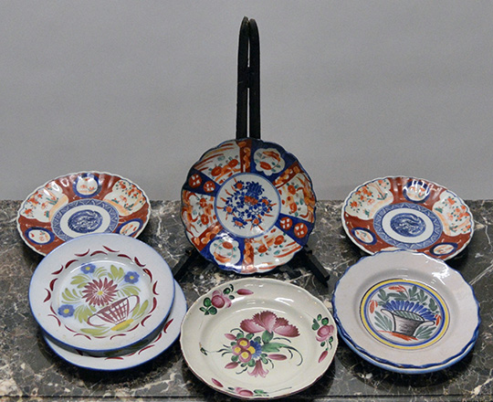 Lot 417: Various 19 and 20 cent plates including three Japanese Imari and five Eastern France with floral decor.
