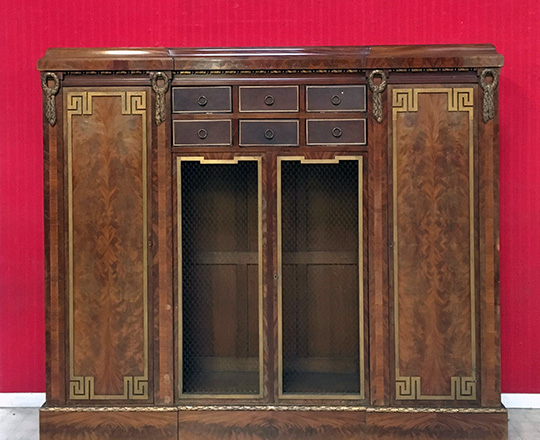 Lot 429: 19th cent fine quality Louis XVI, 4 door mahogany library case of which 2 middle mesh-wire doors and 6 draw. H172x200x41cm