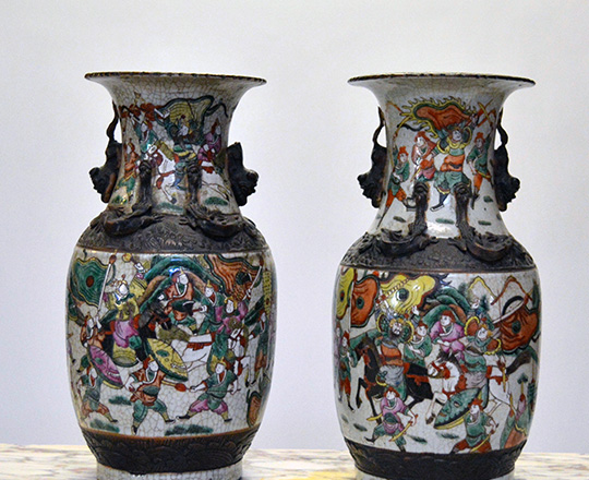 Lot 433_1: Pair 19th cent Chinese ceramic Nankin baluster vases with worrior scenes. H 36cm.