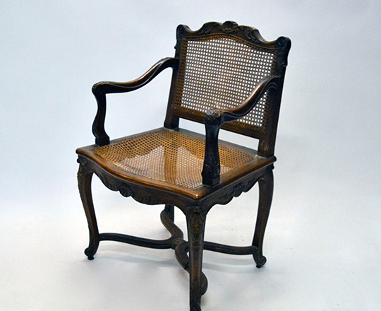 Lot 435_3: Pair 18th ? 19th cent caned Louis XV / Regence walnut armchairs with stretcher base.
