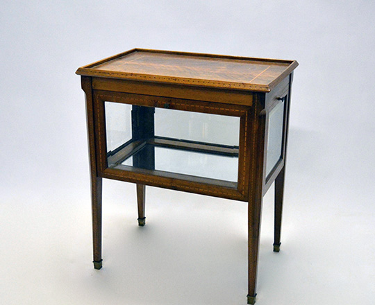 Lot 436: Early cent Louis XVI marquetry tea table with drop glass doors. H73xW63xD42cm.