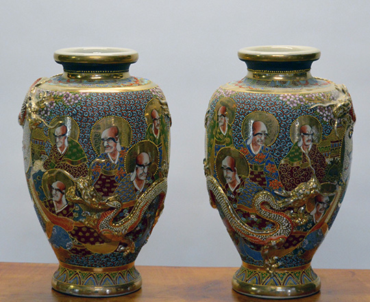 Lot 438: Pair large Satsuma vases with portraits and dragon circling vases. H 45cm.