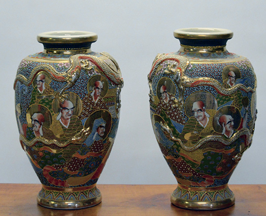 Lot 438_1: Pair large Satsuma vases with portraits and dragon circling vases. H 45cm.