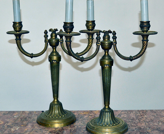 Lot 442: Pair 19th gilt bronze Louis XVI two light candelabras by Gagneau & Cie.