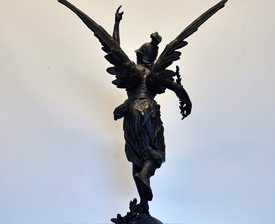 Lot 448_1: Large imposing bronze statue of winged woman representing 'Victory'. H72cm.