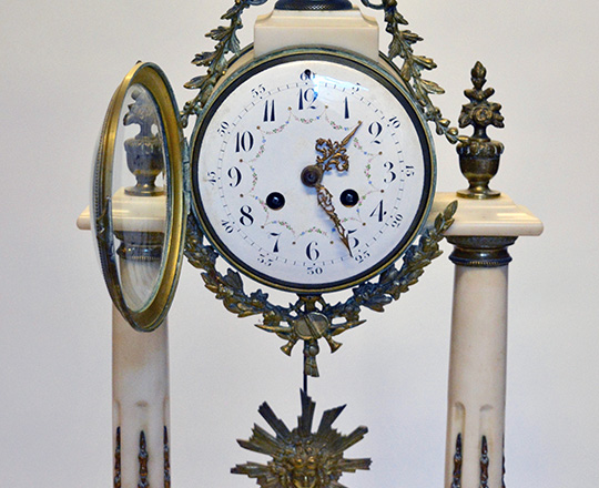 Lot 451_1: Large 19th c. Louis XVI white marble and bronze decor portico clock. H 59cm.