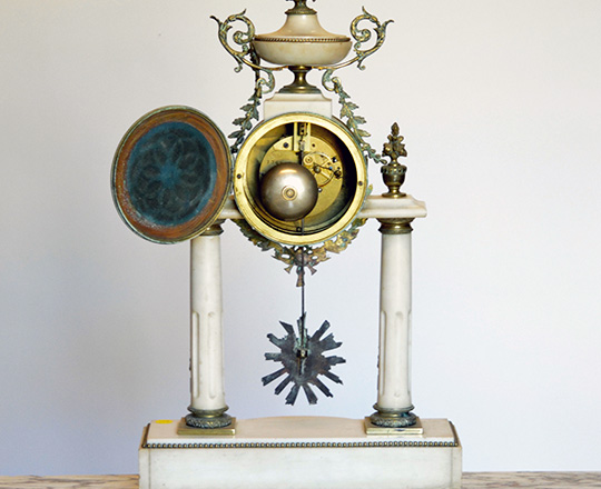 Lot 451_2: Large 19th c. Louis XVI white marble and bronze decor portico clock. H 59cm.