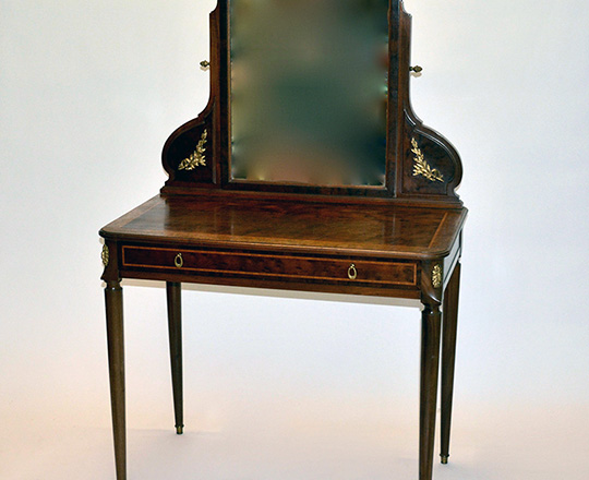 Lot 462: Turn cent Louis XVI single drawer, mahogany vanity with tilt top mirror. H147xW93xD51cm.
